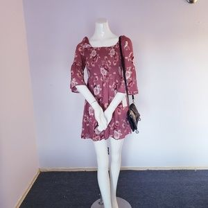 🌺Romantic🌺 Floral Maroon Bell Sleeve Mini Dress